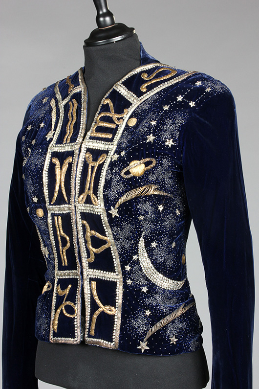 Fine and important Elsa Schiaparelli couture Zodiac jacket, the Astrology Collection, Winter, 1938-39. Sold for £132,000 at Kerry Taylor Auctions, London, December 3, 2013. Kerry Taylor Auctions image.