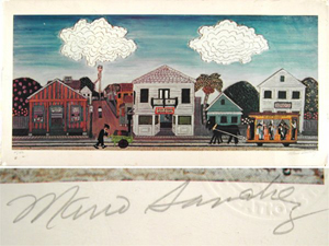 Lithograph by Cuban-American folk artist Mario Sanchez (1908-2005) depicting life in Key West. Image courtesy of LiveAuctioneers.com Archive and Alexander Historical Auctions.