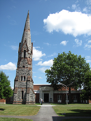 Stearns Steeple and Mead Art Building, Amherst College, Amherst Mass., the scene of the 1975 art heist. Image by John Phelan. This file is licensed under the Creative Commons Attribution 3.0 Unported license.