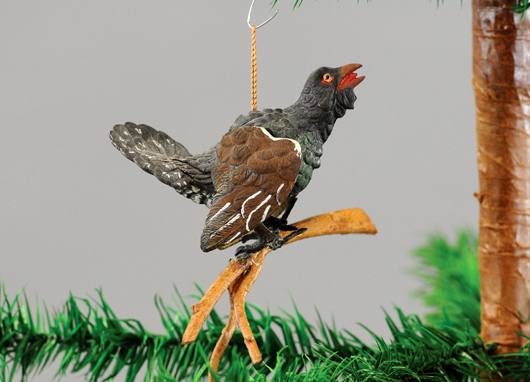 Dresden Christmas ornament depicting glass-eyed turkey vulture on branch. Provenance: Tom Fox estate collection. Est. $2,200-$2,500. Bertoia Auctions image.