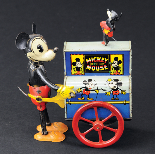 Mickey Mouse 'Hurdy Gurdy,' German, lithographed tin, est. $4,000-$5,000. Bertoia Auctions image.