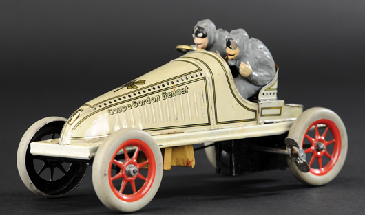 Gunthermann 'Gordon Bennet' racer, German, 8¾in version, est. $6,000-$8,000. Bertoia Auctions image.