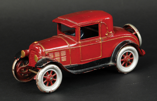 Kenton cast-iron 1926 coupe with painted driver, 10in long, est. $2,000-$3,000. Bertoia Auctions image.
