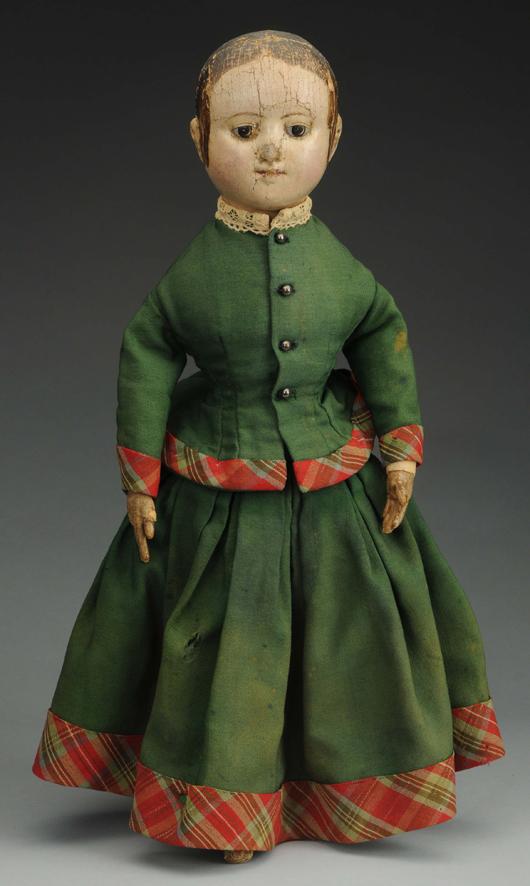 Izannah Walker 18in cloth doll, pre-patent model, Central Falls, RI, circa 1850. Est. $9,000-$12,000. Morphy Auctions image.