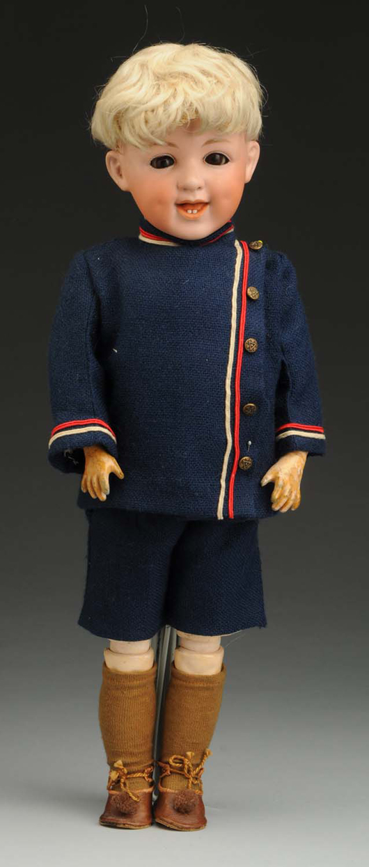 Gebr. Heubach 5636 'Laughing' doll, 17in, est. $1,200-$1,800. Morphy Auctions image.