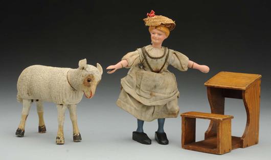 Schoenhut (Philadelphia) 'Mary Had a Little Lamb' set, est. $700-$900. Morphy Auctions image.
