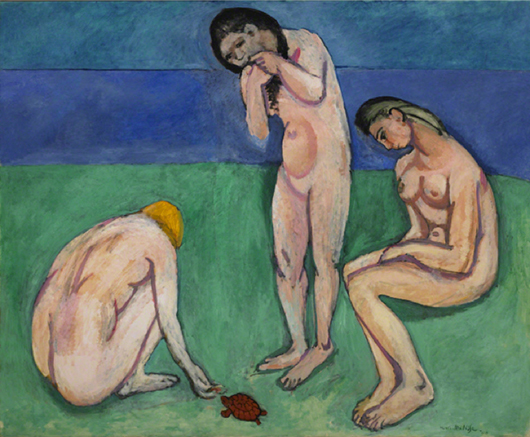 'Bathers with a Turtle,' Henri Matisse, 1907-08, oil on canvas, 71 1/2 x 87 in. (181.6 x 221 cm). St. Louis Art Museum. Image courtesy of Wikimedia Commons.