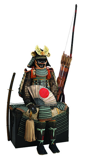 Armor of the Nuinobedō type and military equipment, late Momoyama period, c. 1600 (chest armor, helmet bowl, shoulder guards); remounted mid-Edo period, mid-18th century, iron, lacquer, gold, bronze, silver, leather, wood, horsehair, hemp, brocade, and steel. Photograph by Brad Flowers. © The Ann & Gabriel Barbier- Mueller Museum, Dallas.