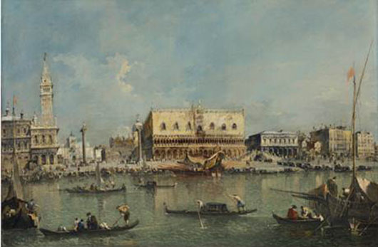 """Francesco Guardi (1712-1793), 'Venice, the Bacino di San Marco with the Piazzetta and the Doge""""s Palace,' oil on canvas, 27 3⁄8 x 40 1⁄8 inches (69.5 x 102 cm). Estimate: £8-10 million/ $13-16.5 million / €9.5-12 million. Copyright Christie's Images Limited 2014."""