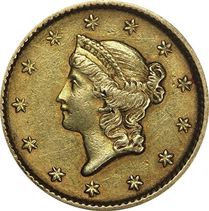 An 1852 US gold dollar coin designed by John B. Longacre. Image courtesy of Lost Dutchman Rare Coins.
