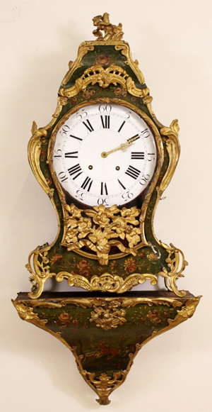Lovely French gilt bronze bracket clock with hand-painted floral and antlered stag decoration. Ahlers & Ogletree image.