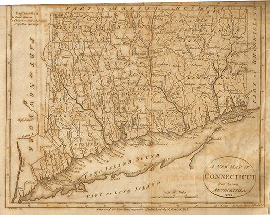 Low's Encyclopedia 1799 map of Connecticut. Image by DigbyDalton. This file is licensed under the Creative Commons Attribution-Share Alike 3.0 Unported license.