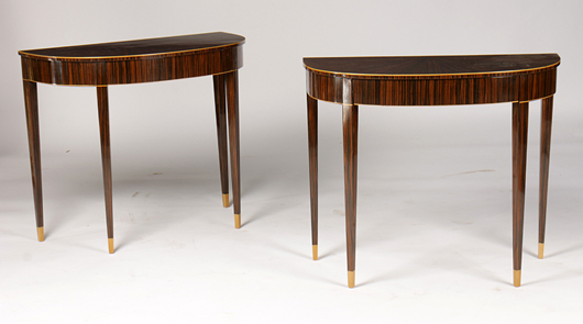 The top lot of the day was a pair of Art Deco-style one-drawer console tables in the manner of Ruhlmann. Estimated at $2,000-$3,000, the pair achieved $10,200. Kamelot Auctions image.