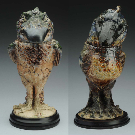 Pair of R.W. Martin stoneware bird-figure tobacco jars, signed and dated. At left: 1907 bird est. $25,000-$35,000. Right: 1908 bird, est. $20,000-$30,000. Morphy Auctions image.