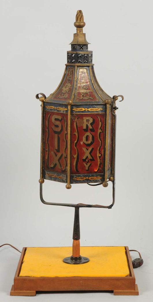 """Fire engine lamp from """"Roxy #6,"""" New England origin, lamp has been electrified, est. $7,000-$10,000. Morphy Auctions image."""