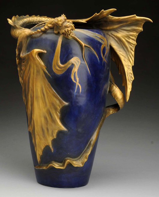 Amphora ceramic dragon vase, 14 inches tall, blue with gold glazes, mint condition, est. $12,000-$15,000. Morphy Auctions image.