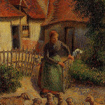 'Shepherdess Bringing in Sheep,' Camille Pissaro, oil on canvas, 1886. Fred Jones Jr. Museum of Art, University of Oklahoma. Image courtesy of Wikimedia Paintings.
