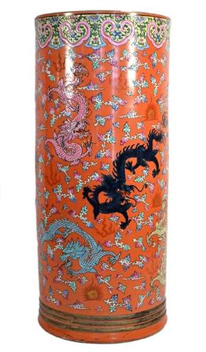 Important Qianlong Nianxhi umbrella stand. Roland Antiques image.