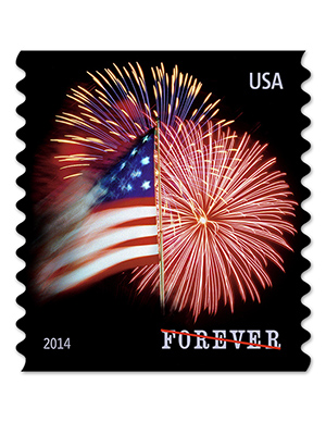The new star-spangled banner stamp. Note: Strike-through on the word 'FOREVER' is shown here to prevent illegal photo reproduction. It does not appear on the actual stamps. USPS image