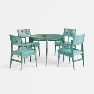 Gio Ponti and Piero Fornasetti, Madrepore dining suite. Estimate: $70,000-$90,000. Wright image.