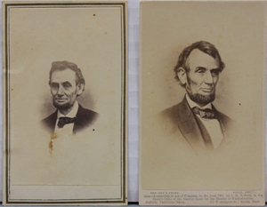 Two cartes de visite photos of Abraham Lincoln, one by Alexander Gardner and the other by J. H. Bufford. Est. $400-$600. Waverly Rare Books image.