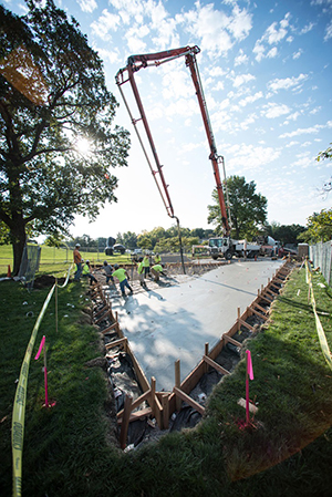 Work on the installation of the Robert Morris glass-walled labyrinth began last fall. Image courtesy of Josh Ferdinand.