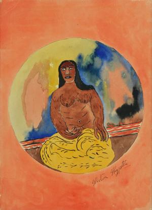 'Une Deeuse Famme' ('A Vodou Goddess') by Hector Hyppolite (Haitian/St. Marc, 1894-1948), est. $15,000-$17,000. Material Culture image.
