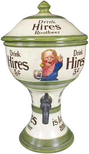 Hires Rootbeer soda fountain syrup dispenser (green version). Excellent original condition. Estimate: $15,000 to $25,000. Showtime Auction Services image.