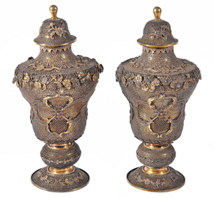 Chinese Export Silver pair of late 18th century Qianlong filigree vases and covers, attributed to the Canton silversmith Pao Ying. Price realized: £23,560. Dreweatts & Bloomsbury image.