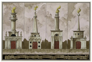 Pablo Bronstein, 'Four Alternate Designs for a Lighthouse in the Style of Nicholas Hawksmoor,' 2014, Courtesy Herald St.