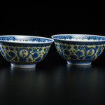 Pair of rare Qianlong blue and yellow bowls – estimate: $12,000-$18,000. Cowan's Auctions Inc. image.