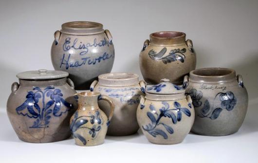 Selection of Shenandoah Valley stoneware squat pots. Jeffrey S. Evans & Associates image.