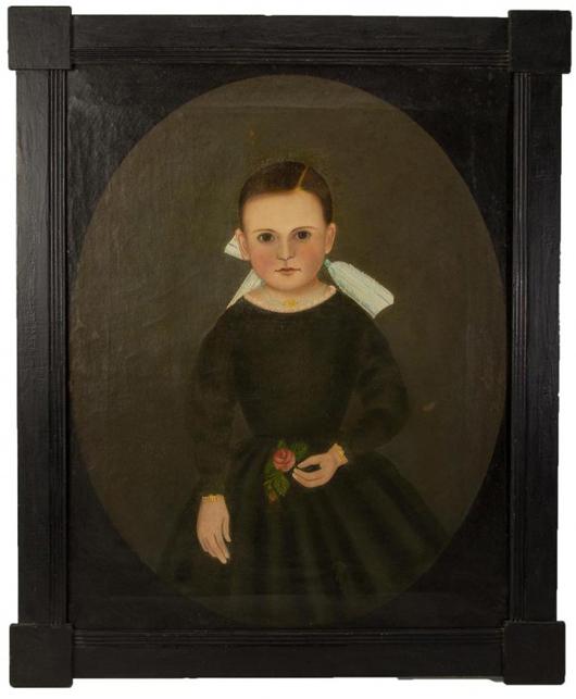 Folk art portrait by John James Trumbull Arnold. Jeffrey S. Evans & Associates image.