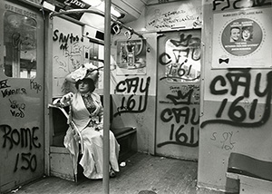 Bill Cunningham, 'Editta Sherman on the Train to the Brooklyn Botanic Garden,' ca. 1972. Gelatin silver photograph. New-York Historical Society, Gift of Bill Cunningham.