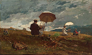 Winslow Homer (1836-1910) painted 'Artists Sketching in the White Mountains' in 1868. Portland (Maine) Museum of Art. Image courtesy of Wikimedia Commons.