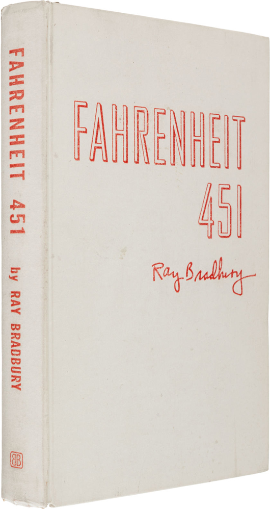 Unusually fine copy of the Ray Bradbury's 'Fahrenheit 451,' New York: Ballantine Books, 1953. First edition, number 102 of 200 copies signed by Bradbury and bound in 'an asbestos material with exceptional resistance to pyrolysis.' Estimate: $17,500 - up. Heritage Auctions image.