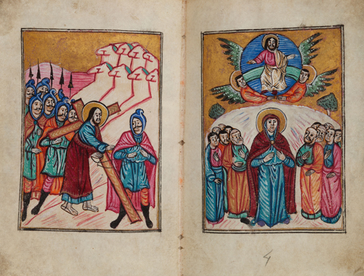 Armenian illuminated manuscript of the Four Gospels with six miniatures, illuminated concordances, marginal illustrations and ornamented letters. The Armenian date 1122 corresponds to the year 1673-1674. Estimate: $20,000-plus. Heritage Auctions image.