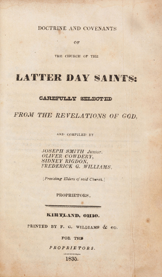 Rare first edition of a cornerstone of Mormon theology, the 1835 edition of 'Doctrine and Covenants of the Church of Latter Day Saints.' Estimate: $30,000-plus. Heritage Auctions image.
