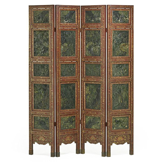 Chinese nephrite jade four-panel screen. Price realized: $68,750. Rago Arts and Auction Center image.
