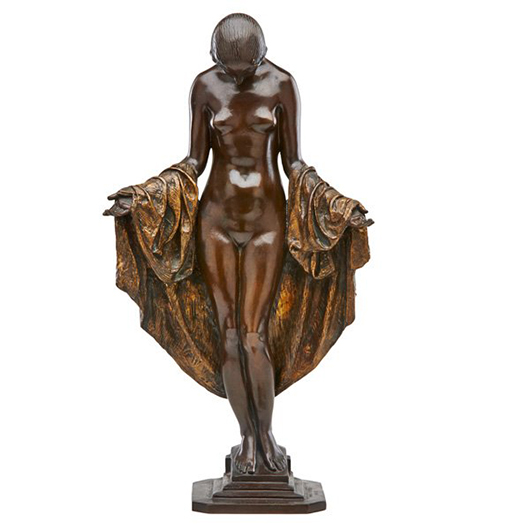 Mario Joseph Korbel bronze sculpture of a draped nude. Price realized: $13,750. Rago Arts and Auction Center image.