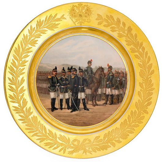 Russian Imperial Porcelain Factory military plate. Price realized: $35,000. Rago Arts and Auction Center image.