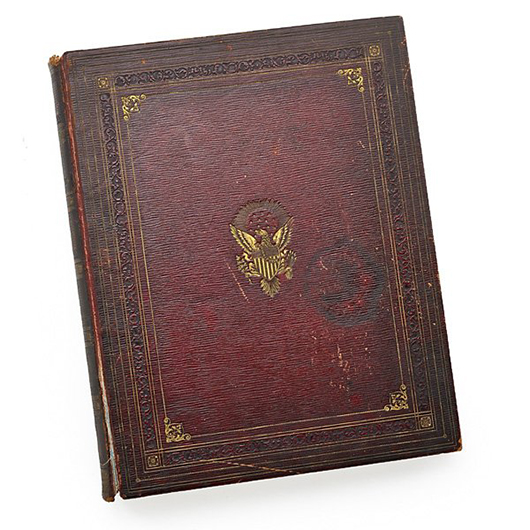 Presidential autograph album, includes signatures of George Washington, James Madison and James Monroe. Price realized: $27,500. Rago Arts and Auction Center image.