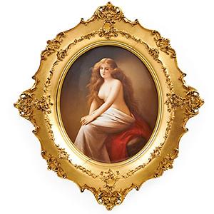 KPM porcelain plaque, 'Solitude.' Price realized: $20,000. Rago Arts and Auction Center image.