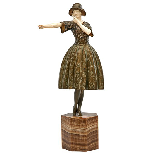 Demetre Chiparus (attr.), bronze and ivory sculpture of a young woman. Price realized: $18,750. Rago Arts and Auction Center image.