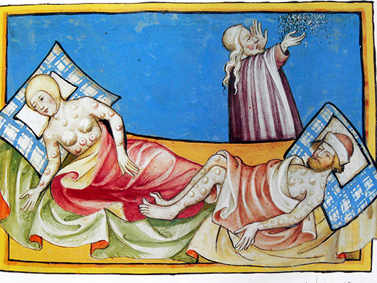 Illustration representing the Black Death from the Toggenburg Bible (1411). Public domain image courtesy of Wikimedia Commons.