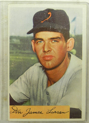 Don Larson, the only player to pitch a perfect game in the World Series, started his career with the Aberdeen Pheasants. The New York Yankees pitcher is pictured on a 1954 Bowman baseball card. Image courtesy of LiveAuctioneers.com archive and Bobby Langston Antiques Inc.