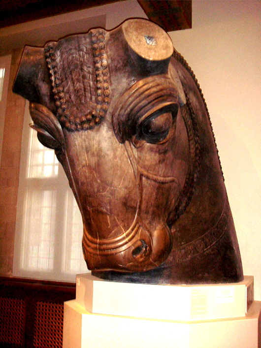 Head of a bull that once guarded the entrance to the Hundred-Column Hall at Persepolis in present-day Iran. The artifact is in the collection of the Oriental Institute in Chicago. Image by Nathaniel.Ioman at en.wikipedia.