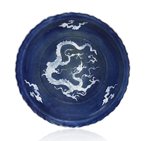 This Chinese Yuan Dynasty dish, priced at $22 million, was one of the high points of the European Fine Art Fair in Maastricht, selling to a Chinese collector on the stand of Hong Kong dealers Littleton and Hennessy Asian Art. Image courtesy Littleton and Hennessy and TEFAF.