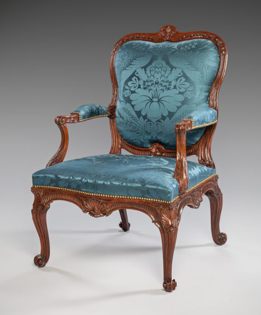 London dealers Mallett were offering this important pair of George II period armchairs in carved sabicu, known as the Spencer House Chairs. Originating from Althorp, the family home of the late Princess Diana, and attributed to John Gordon after designs by the famous architect and designer James 'Athenian' Stuart, they were priced at £1 million ($1,660,000). Image courtesy of Mallett.
