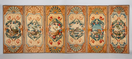 At the European Fine Art Fair London dealers Mallett were looking for a buyer for this important and rare set of six Louis XV Savonnerie panels, circa 1735, decorated with scenes from Aesop's fables by the great French still life painter Jean Baptiste Oudry. Image courtesy of Mallett.